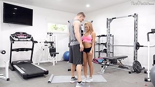 Honey Blossom enjoys the best fuck at the gym with her horny trainer