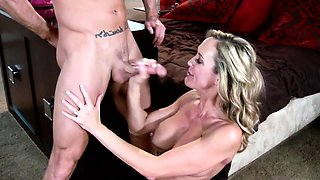 Busty housewife in lingerie gets tits cumshot
