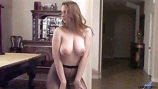 Horny housewife does a seductive dance in pantyhose and