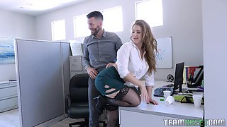 MILF blonde secretary Lena Paul fucks with two guys at the office