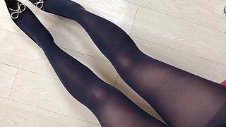 Kulotlu corap, gumus babet, short. pantyhose, black short