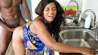 Busty Black Girl Fucked On Kitchen Table