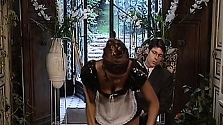 African maid is a sex slave with hairy pussy who gets