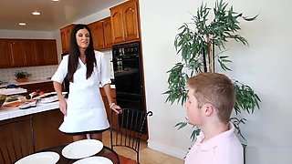Sexy stepmom and teen beauty horny orgy in the kitchen