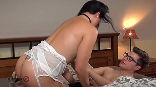 Shy nerdy buddy is treated with kinky handjob by MILF Sina Velvet