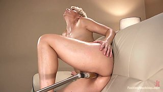 Smoking hot short haired milf Helena Locke is testing crazy sex toy
