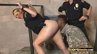 Big titted officers use their fat bouncy asses to ride bbc