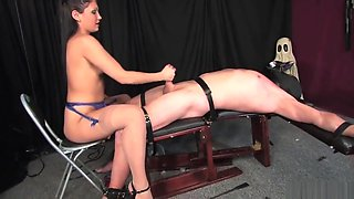 Femdom Mistress punishes bisexual male slaves