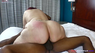 pawg granny sucking her neighbors two big black cocks