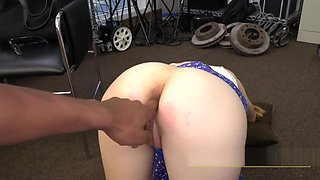 Nerdy chick with glasses takes directors cock in doggystyle