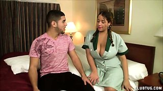 Sexy Latina maid Selena Star enters Joeys room wearing a
