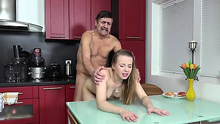 Old Goes Young - Steamy sex in the kitchen between young