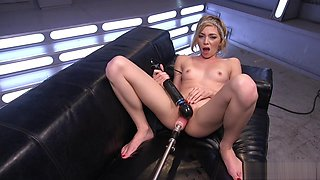 Blonde squirting on long cock fucking machine