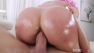 Oiled babe rough assfucks