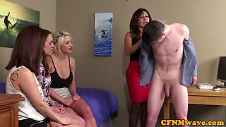 Classy british femdom watches ladies suck sub