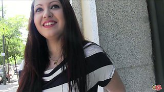 Bodacious brunette slut is gonna please that nasty fat guy