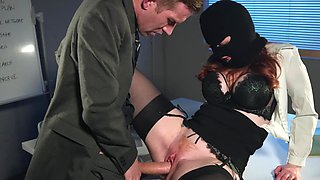 Corporate burglar fucked by a massive cock CEO