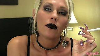 Milf black lipstick smoking 120s