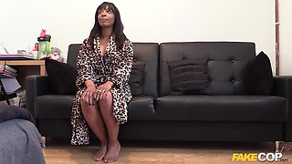 Busty ebony feels entire guy's dick humping her so good