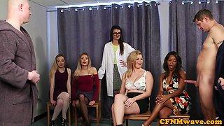 CFNM sluts wanking dicks until cumshot