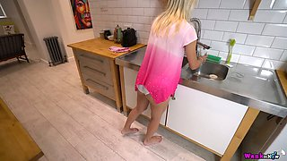 Lustful stepsister Chloe Toy shows tits and puffy snatch to her stepbrother