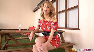 Long legged svelte hottie Eva exposes her big clit and nice pussy lips