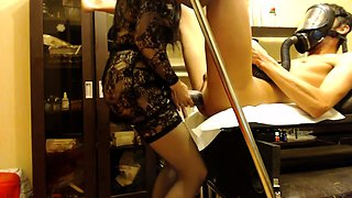 Kinky guy has a dominant babe in lingerie punishing his ass
