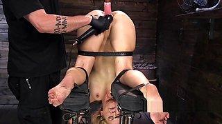 Blonde in extreme bondage rides Sybian