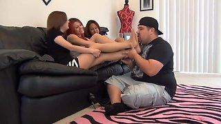 Girls nylon feet sniffing