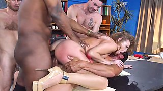 Busty MILF copulates with four stallions during last casting