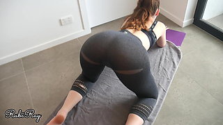 Cumming In Gym Babe's Panties and Yoga Pants on Her Workout