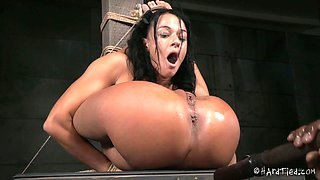 Fixed in a crazy pose tanned brunette bitch gets her anus fucked with toy