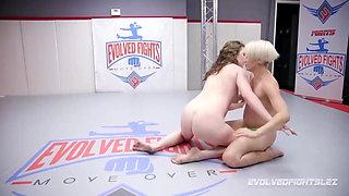 Lesbian wrestling sex with Helena Locke fucking Remy