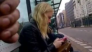 Dick flashing blond at bus stop