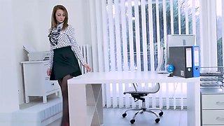 Office slut teases upskirt in nylon suspenders slips panties off to wank in stockings and high heels