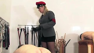 Unrelenting dominatrix spanking subs hard