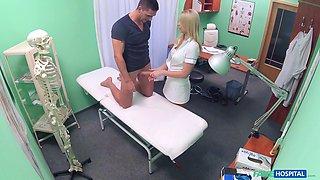 Horny nurse tells her patient to get naked for a check-up and blows him