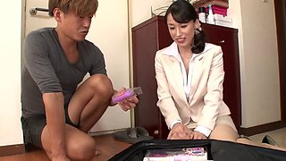 Sex toy sales woman demonstrates her products for him