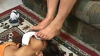 Brazilian girl sniffing old stinky feet