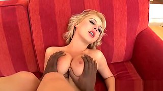 Busty glamour babe in lingerie fucked by BBC
