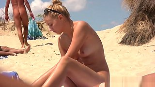 Shaved Pussy Milfs Tanning Naked At The Nudist Beach Hd Vid