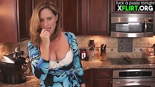 Busty sepmother at kitchen