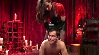 Busty mistress enjoys fucking a dude with strapon