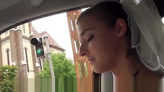 Stranded euro bride screwed outdoors