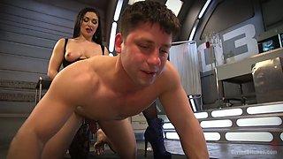 Slutty mistress Lea Lexis enjoys face sitting and fucks dude's ass hole with strapon