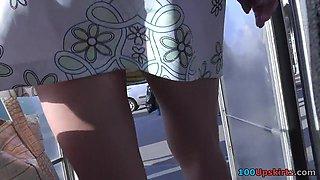 G-string upskirt panties disappeared between buttocks
