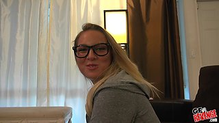 Blonde with glasses Scarlett Jennings fucked and cum sprayed at home