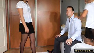 Two dominant ladies in pantyhose work their feet on a cock
