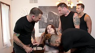 Gangbang movie of young colleen double penetrated in the bedroom