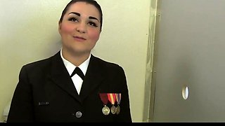 NAVY GIRL MORENA GETS DOUBLE FACIAL AT GLORYHOLE